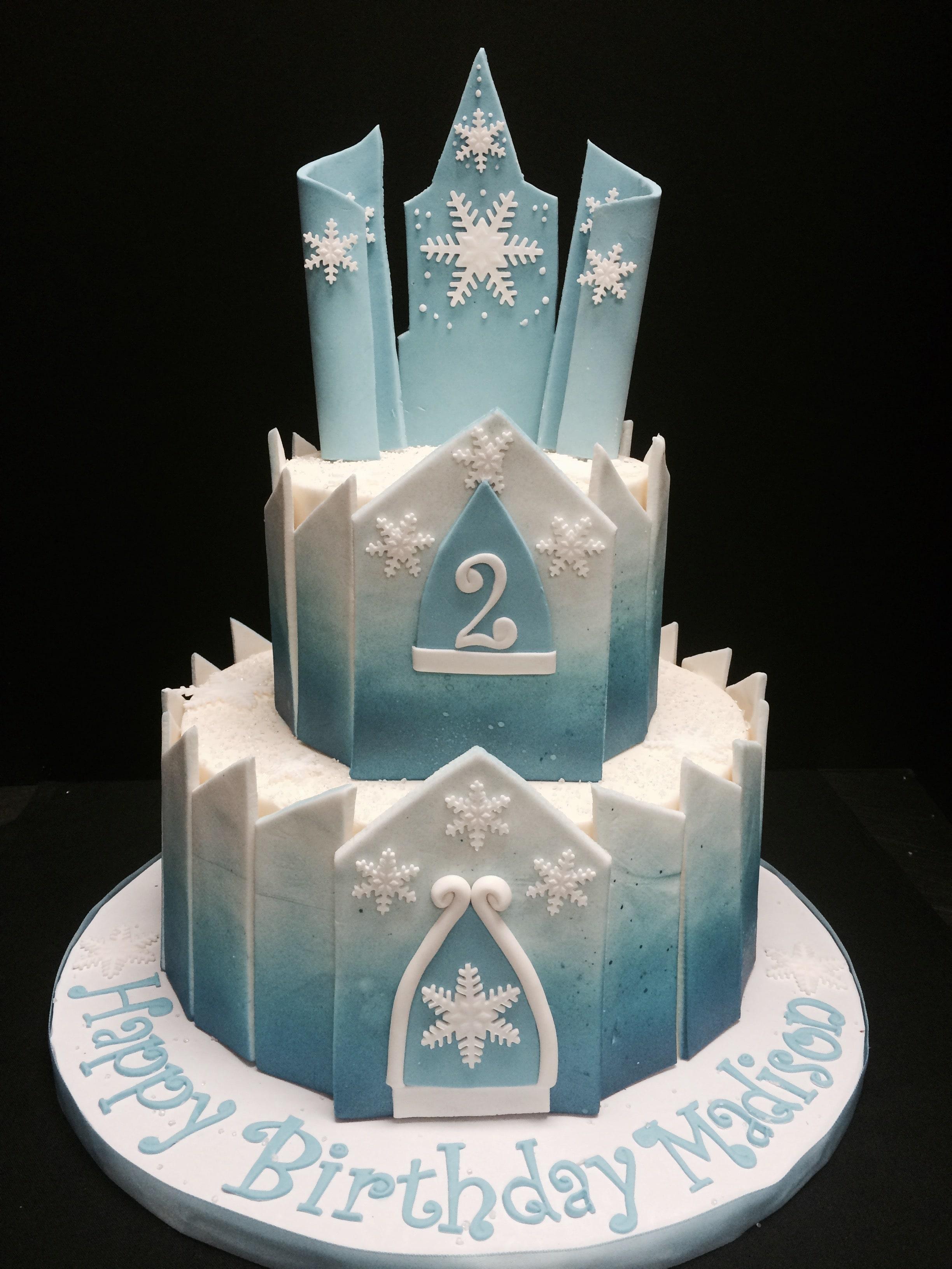 Awesome Elsa Castle Birthday Cake Croissants Bistro Bakery Personalised Birthday Cards Petedlily Jamesorg