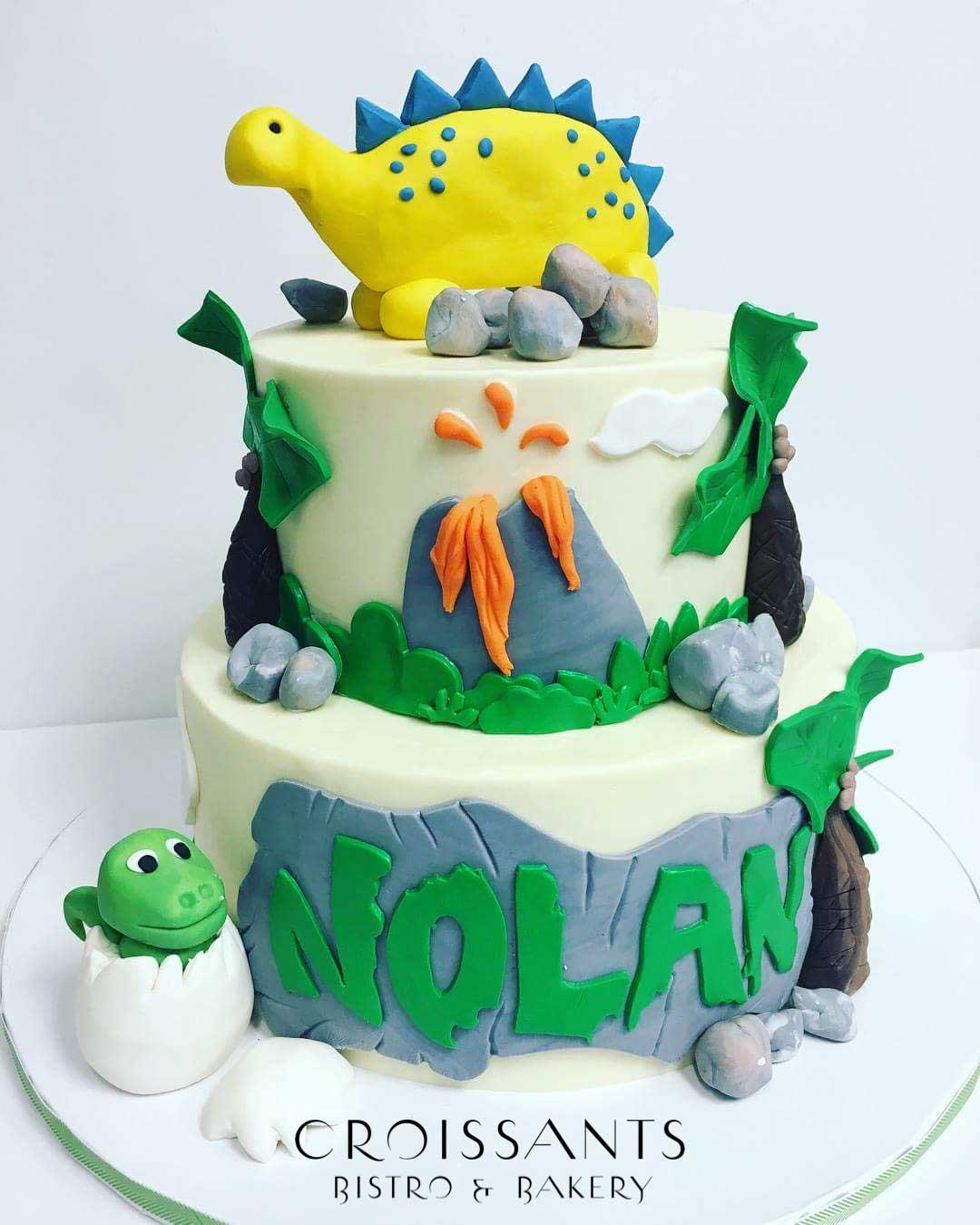 Terrific Dinosaur Birthday Cake Croissants Bistro Bakery Personalised Birthday Cards Bromeletsinfo