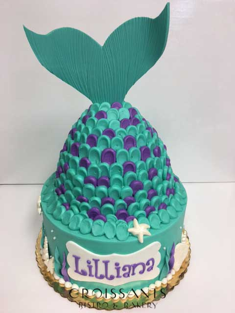 Swell Mermaid Birthday Cake Croissants Bistro Bakery Funny Birthday Cards Online Fluifree Goldxyz
